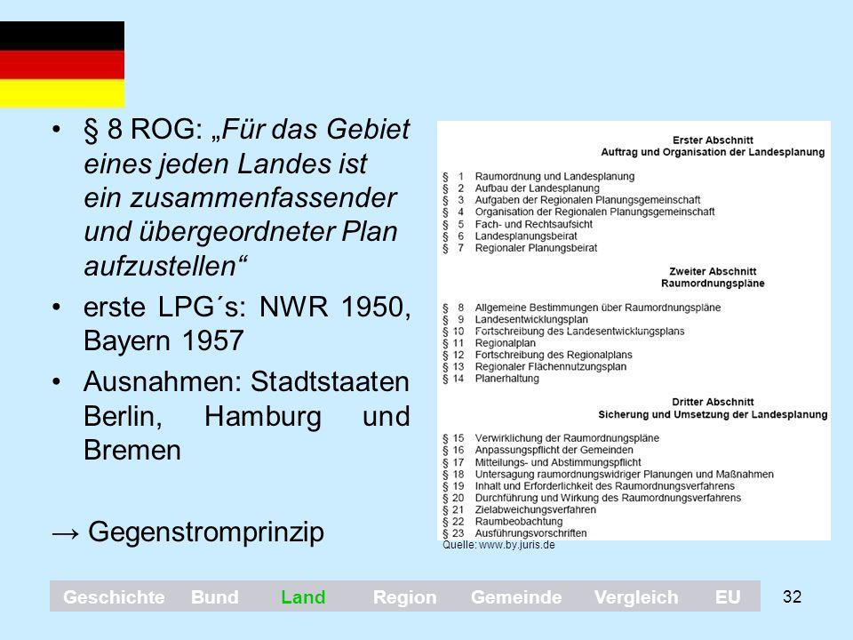 """32 § 8 ROG: """"Für das Gebiet eines jeden Landes ist ein zusammenfassender und übergeordneter Plan aufzustellen"""" erste LPG´s: NWR 1950, Bayern 1957 Ausn"""