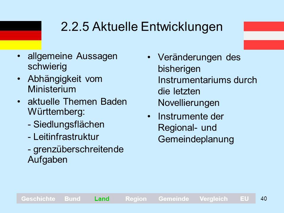 40 2.2.5 Aktuelle Entwicklungen allgemeine Aussagen schwierig Abhängigkeit vom Ministerium aktuelle Themen Baden Württemberg: - Siedlungsflächen - Lei