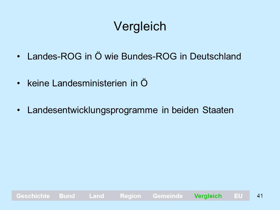 41 Vergleich Landes-ROG in Ö wie Bundes-ROG in Deutschland keine Landesministerien in Ö Landesentwicklungsprogramme in beiden Staaten GeschichteBundLa