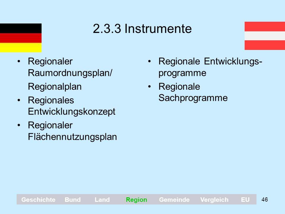 46 2.3.3 Instrumente Regionaler Raumordnungsplan/ Regionalplan Regionales Entwicklungskonzept Regionaler Flächennutzungsplan Regionale Entwicklungs- p