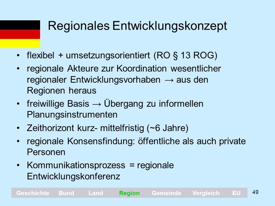 49 Regionales Entwicklungskonzept flexibel + umsetzungsorientiert (RO § 13 ROG) regionale Akteure zur Koordination wesentlicher regionaler Entwicklung