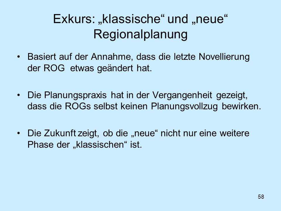 """58 Exkurs: """"klassische"""" und """"neue"""" Regionalplanung Basiert auf der Annahme, dass die letzte Novellierung der ROG etwas geändert hat. Die Planungspraxi"""