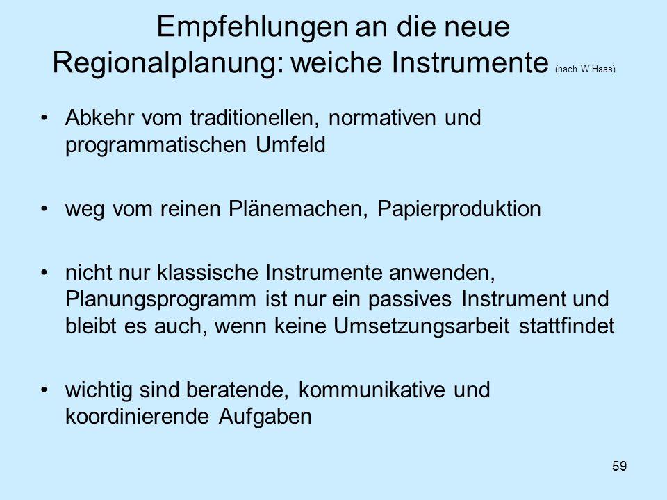 59 Empfehlungen an die neue Regionalplanung: weiche Instrumente (nach W.Haas) Abkehr vom traditionellen, normativen und programmatischen Umfeld weg vo