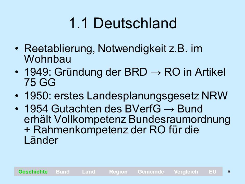 6 1.1 Deutschland Reetablierung, Notwendigkeit z.B. im Wohnbau 1949: Gründung der BRD → RO in Artikel 75 GG 1950: erstes Landesplanungsgesetz NRW 1954