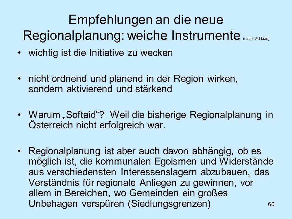 60 Empfehlungen an die neue Regionalplanung: weiche Instrumente (nach W.Haas) wichtig ist die Initiative zu wecken nicht ordnend und planend in der Re