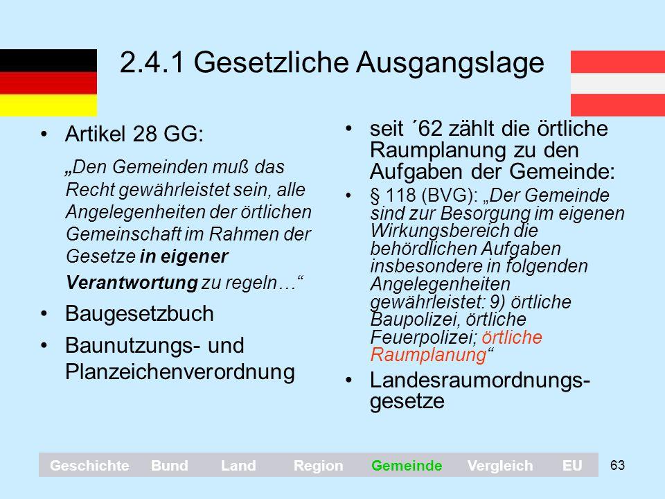 """63 2.4.1 Gesetzliche Ausgangslage Artikel 28 GG: """" Den Gemeinden muß das Recht gewährleistet sein, alle Angelegenheiten der örtlichen Gemeinschaft im"""