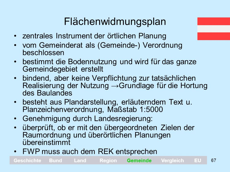 67 Flächenwidmungsplan zentrales Instrument der örtlichen Planung vom Gemeinderat als (Gemeinde-) Verordnung beschlossen bestimmt die Bodennutzung und