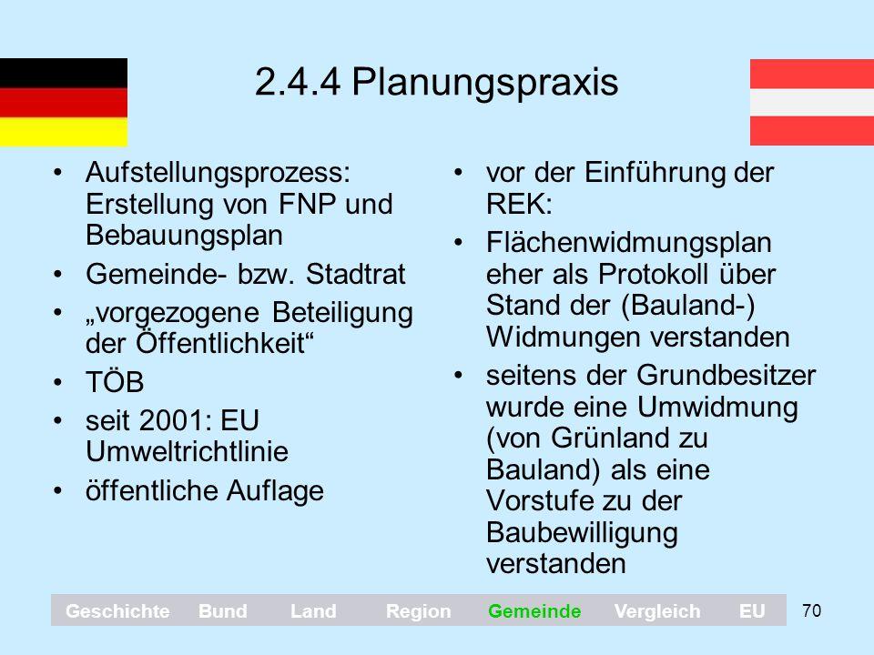 """70 2.4.4 Planungspraxis Aufstellungsprozess: Erstellung von FNP und Bebauungsplan Gemeinde- bzw. Stadtrat """"vorgezogene Beteiligung der Öffentlichkeit"""""""