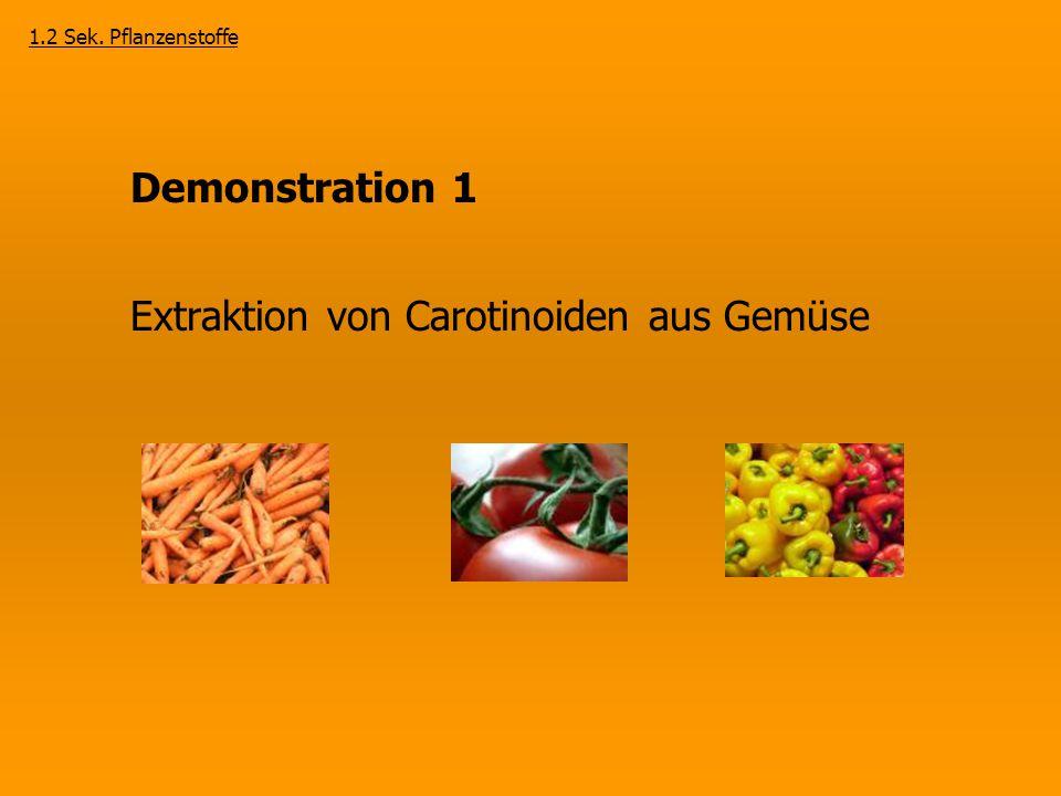 Demonstration 1 Extraktion von Carotinoiden aus Gemüse 1.2 Sek. Pflanzenstoffe