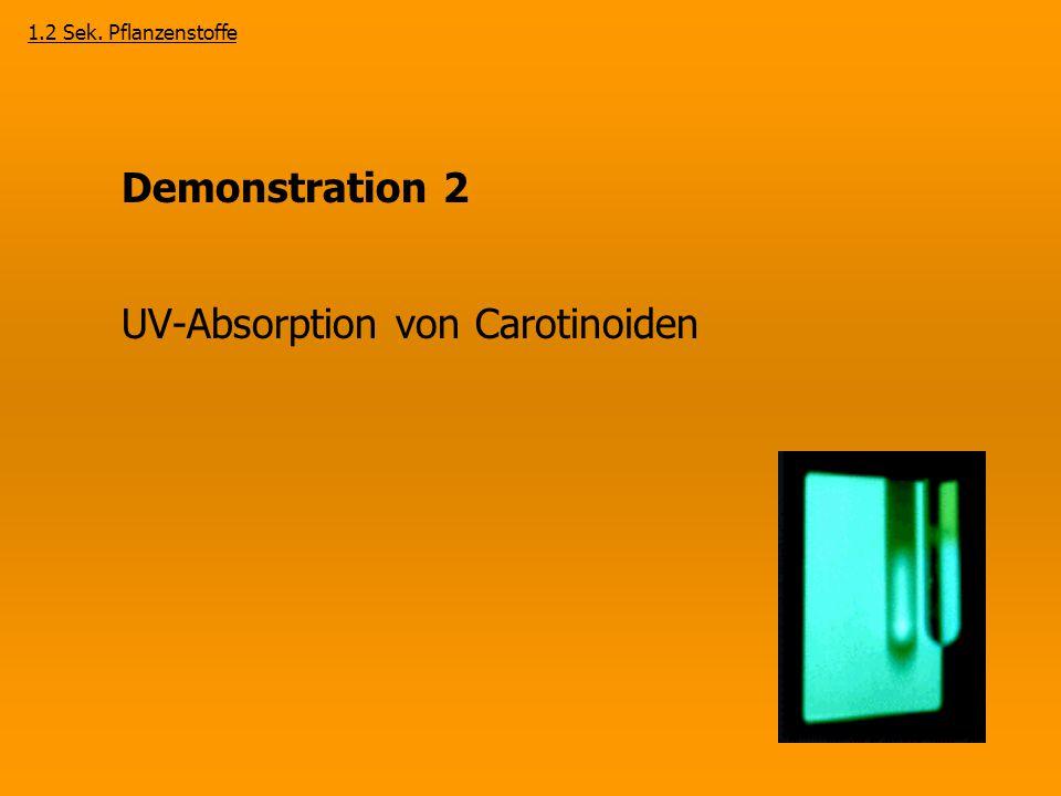 Demonstration 2 UV-Absorption von Carotinoiden 1.2 Sek. Pflanzenstoffe