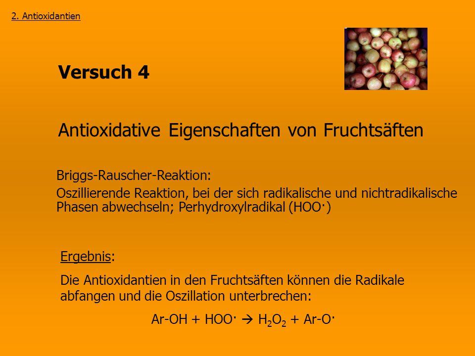 Versuch 4 Antioxidative Eigenschaften von Fruchtsäften Briggs-Rauscher-Reaktion: Oszillierende Reaktion, bei der sich radikalische und nichtradikalisc