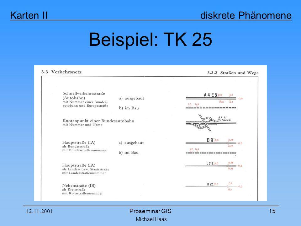 Michael Haas Karten II diskrete Phänomene 12.11.2001Proseminar GIS15 Beispiel: TK 25