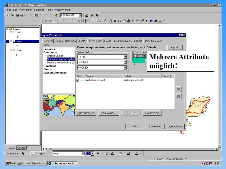 Michael Haas Karten II diskrete Phänomene 12.11.2001Proseminar GIS28 Mehrere Attribute möglich!