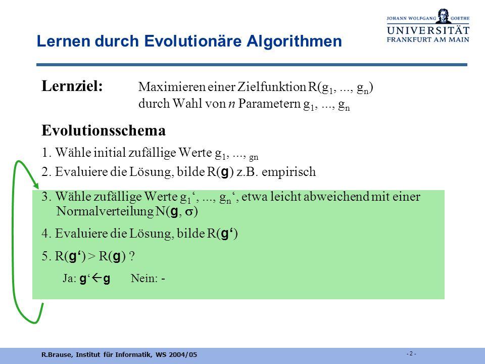 Evolutionäre Algorithmen Rüdiger Brause Proseminar Komplexe Adaptive Systeme