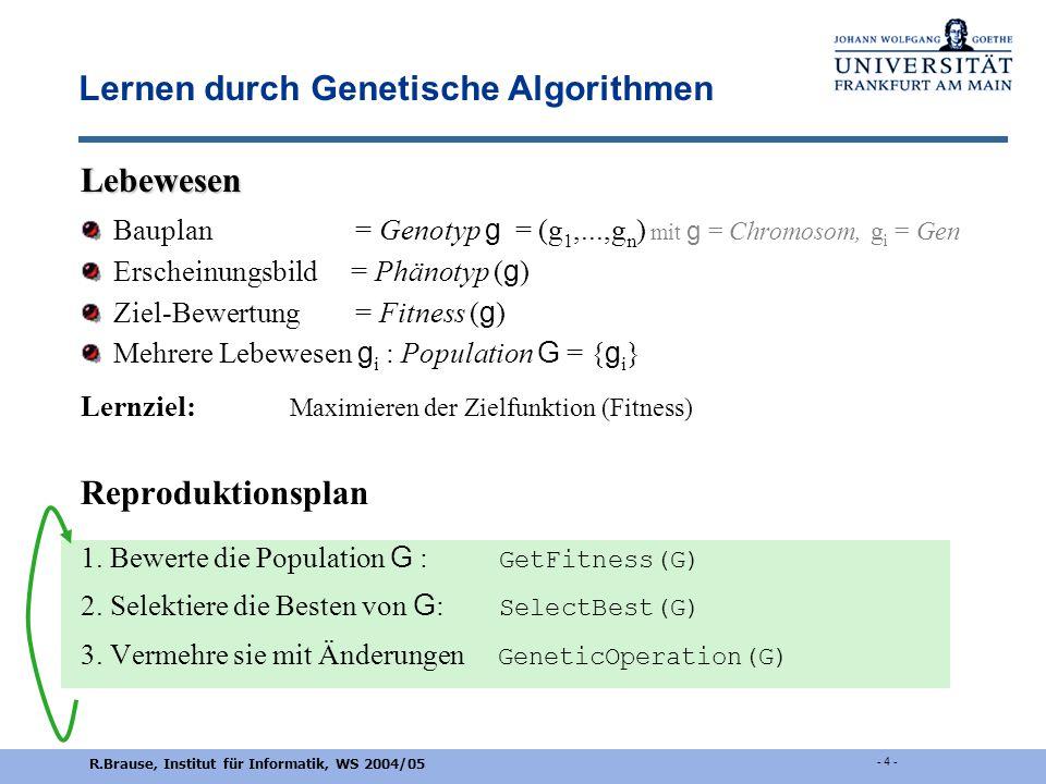 R.Brause, Institut für Informatik, WS 2004/05 - 3 - Evolutionäre Algorithmen: Beispiel Versuchsaufbau Rohrkrümmung (Rechenberg 1973) Parameter g = (g
