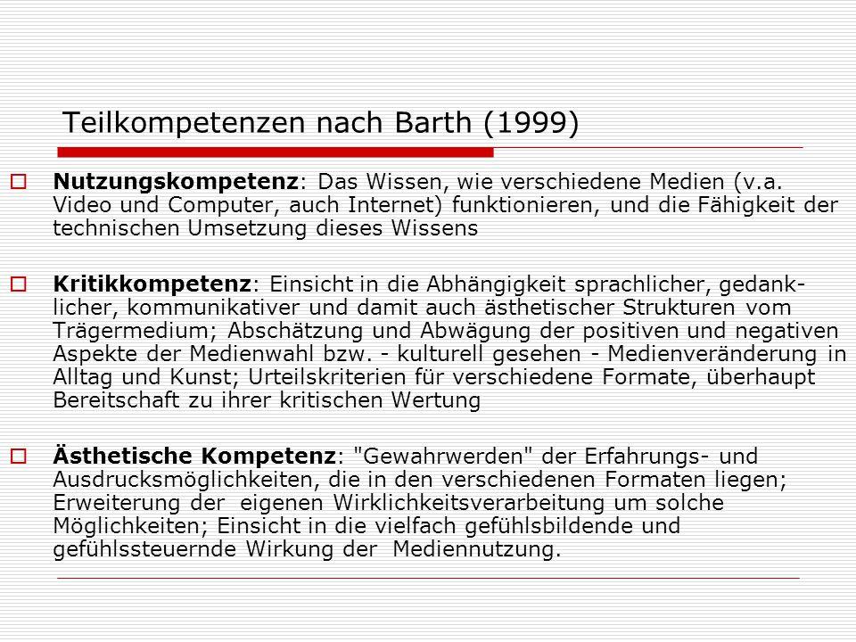 Teilkompetenzen nach Barth (1999)  Nutzungskompetenz: Das Wissen, wie verschiedene Medien (v.a. Video und Computer, auch Internet) funktionieren, und