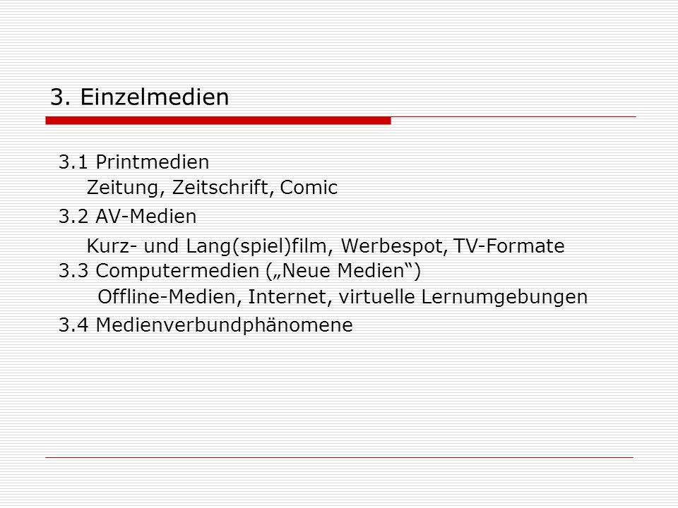 """3. Einzelmedien 3.1 Printmedien 3.2 AV-Medien 3.3 Computermedien (""""Neue Medien"""") 3.4 Medienverbundphänomene Zeitung, Zeitschrift, Comic Kurz- und Lang"""