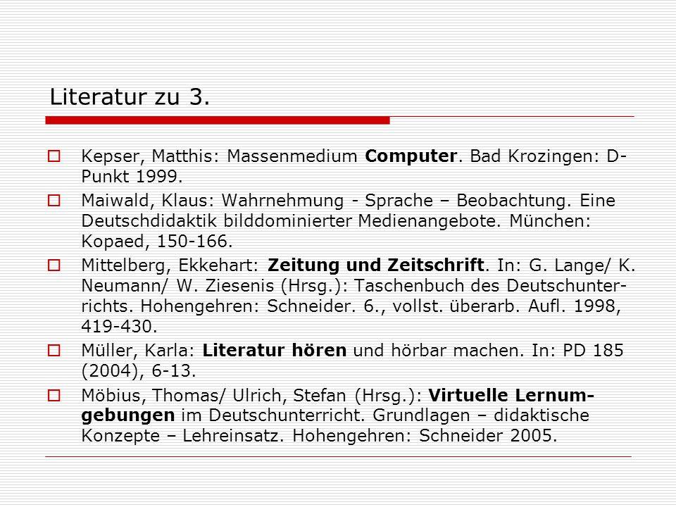 Literatur zu 3.  Kepser, Matthis: Massenmedium Computer. Bad Krozingen: D- Punkt 1999.  Maiwald, Klaus: Wahrnehmung - Sprache – Beobachtung. Eine De