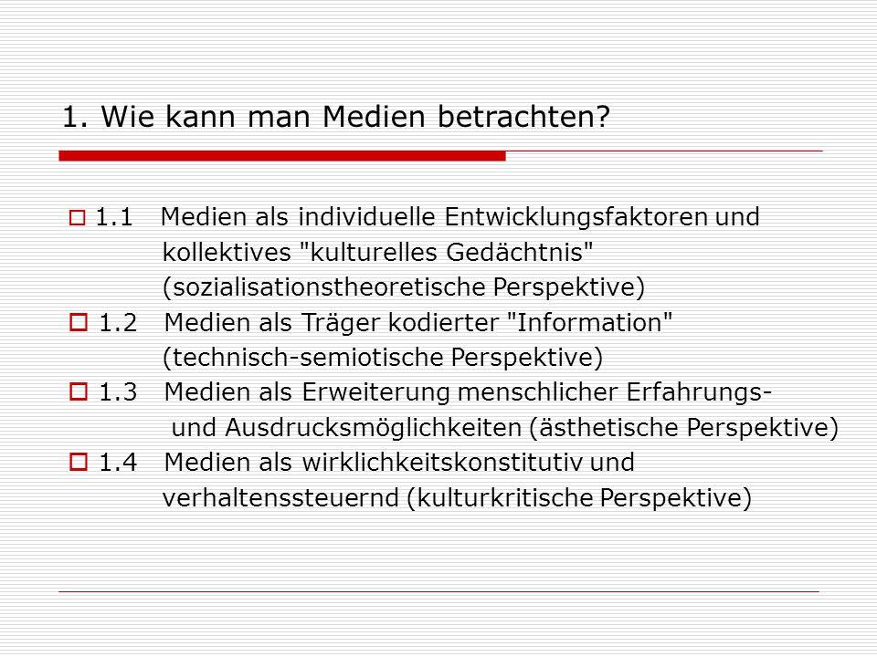  1.1 Medien als individuelle Entwicklungsfaktoren und kollektives