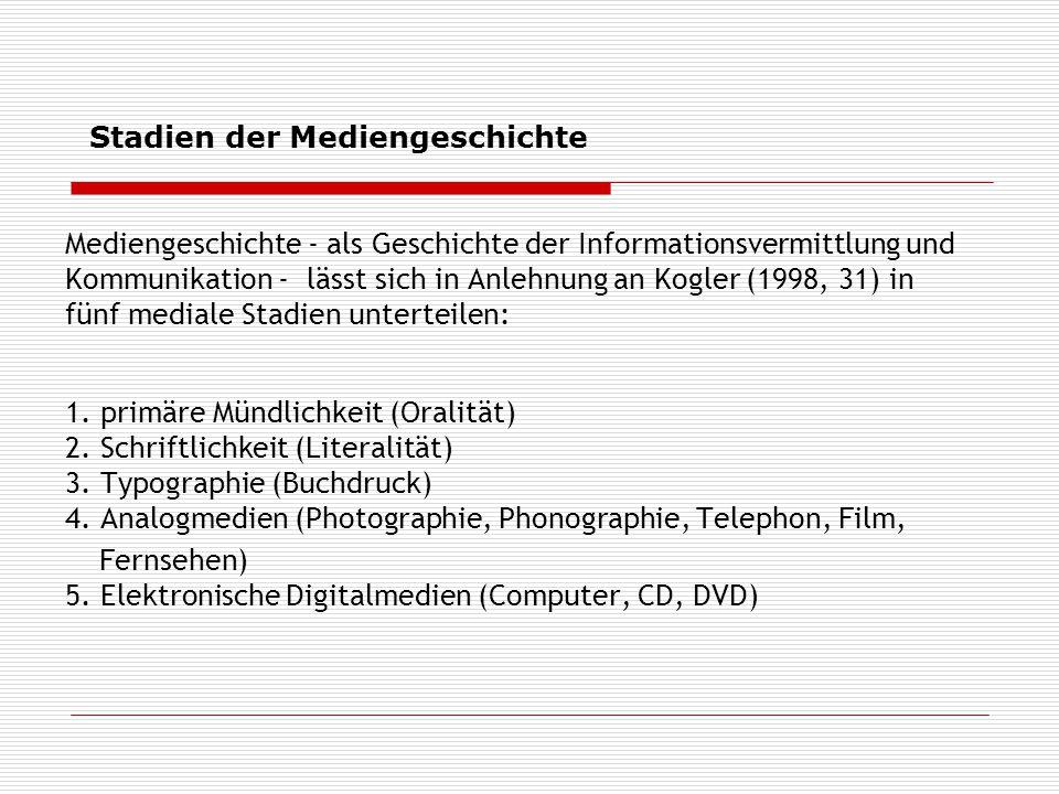 Mediengeschichte - als Geschichte der Informationsvermittlung und Kommunikation - lässt sich in Anlehnung an Kogler (1998, 31) in fünf mediale Stadien