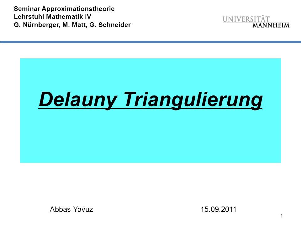1 Seminar Approximationstheorie Lehrstuhl Mathematik IV G.