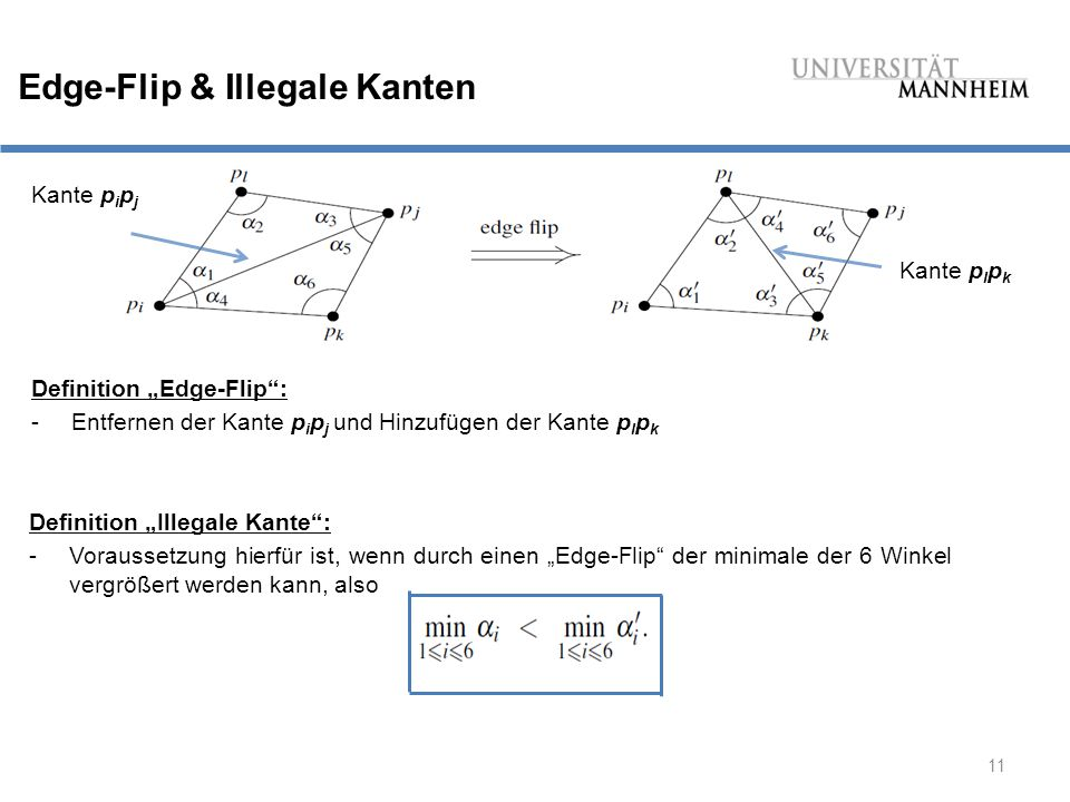 """11 Edge-Flip & Illegale Kanten Definition """"Edge-Flip : -Entfernen der Kante p i p j und Hinzufügen der Kante p l p k Kante p i p j Kante p l p k Definition """"Illegale Kante : -Voraussetzung hierfür ist, wenn durch einen """"Edge-Flip der minimale der 6 Winkel vergrößert werden kann, also"""