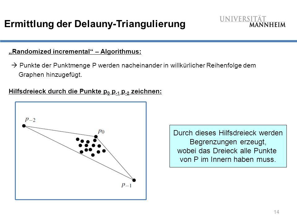 """14 Ermittlung der Delauny-Triangulierung """"Randomized incremental – Algorithmus:  Punkte der Punktmenge P werden nacheinander in willkürlicher Reihenfolge dem Graphen hinzugefügt."""