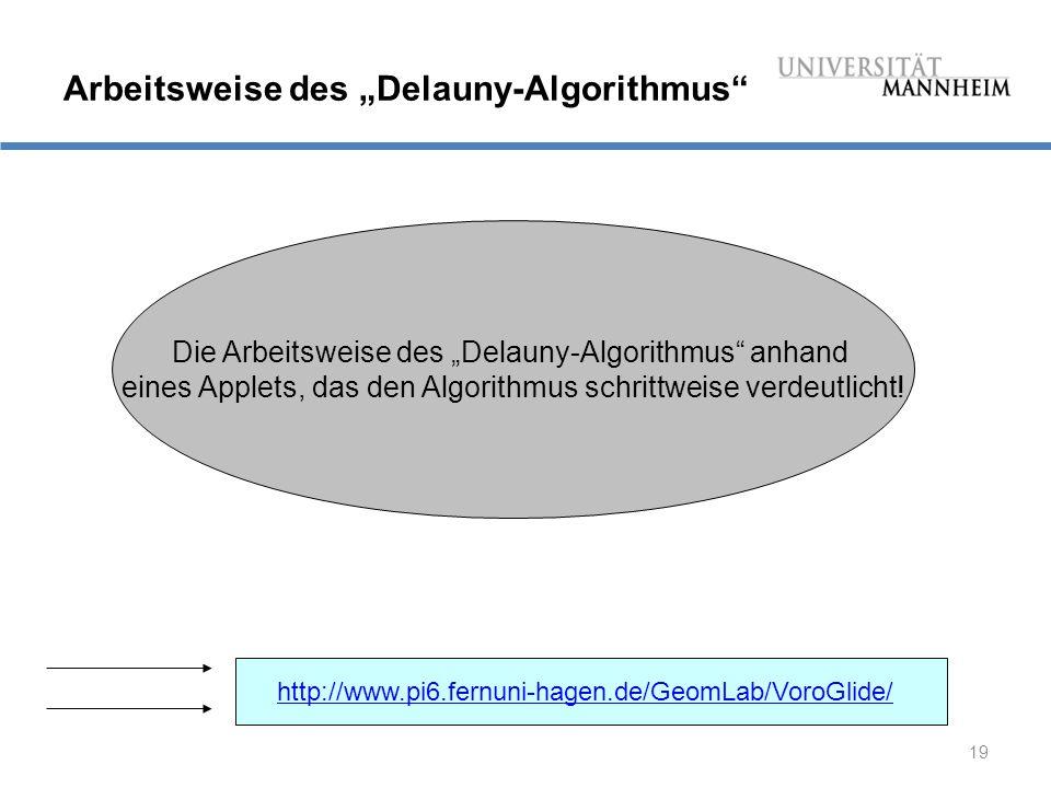 """19 Arbeitsweise des """"Delauny-Algorithmus Die Arbeitsweise des """"Delauny-Algorithmus anhand eines Applets, das den Algorithmus schrittweise verdeutlicht."""