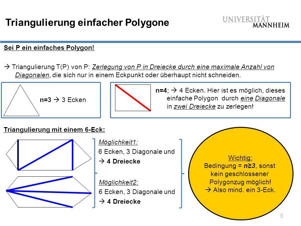 16 Delauny Triangulierung - Algorithmus Algorithmus: Delauny Triangulierung (P) Input:Eine Punktemenge P in der Ebene.
