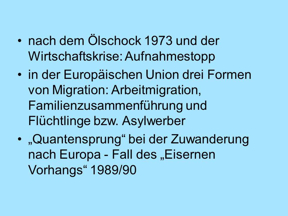 nach dem Ölschock 1973 und der Wirtschaftskrise: Aufnahmestopp in der Europäischen Union drei Formen von Migration: Arbeitmigration, Familienzusammenf