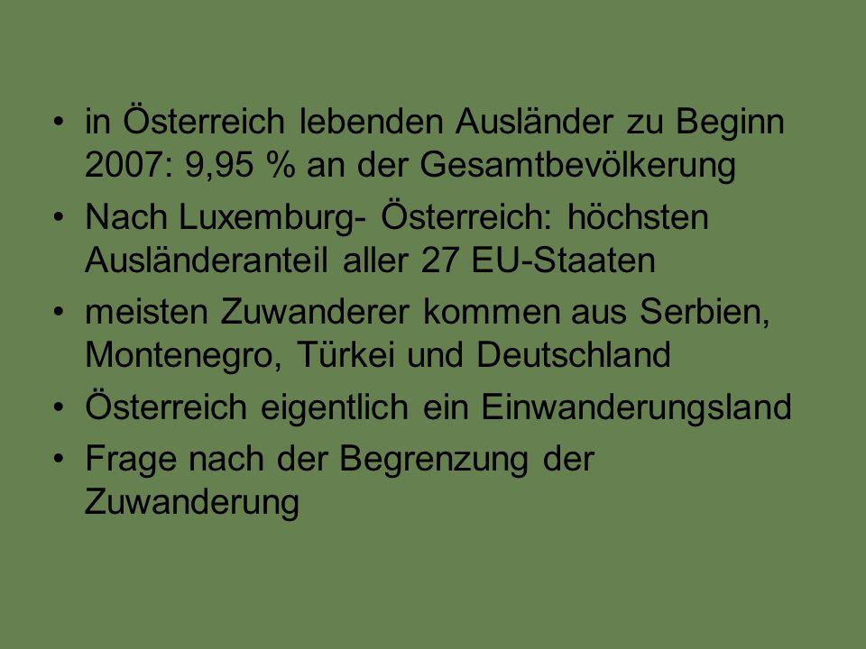 Öfters: massives Vorbehalten und ablehnende Haltung der österreichischen Bevölkerung gegenüber Ausländern und Zuwanderern Ausländer mit gut bezahlten und angesehenen Berufen- sind nicht betroffen von Diskriminierung, sondern eher Flüchtlinge, Zuwanderer die in Branchen mit niedrigen Sozialprestige, geringen Löhnen und fehlenden Aufstiegsmöglichkeiten tätig Einstellungen der Bevölkerung: Verschärfung des Fremden- und Asylrechts