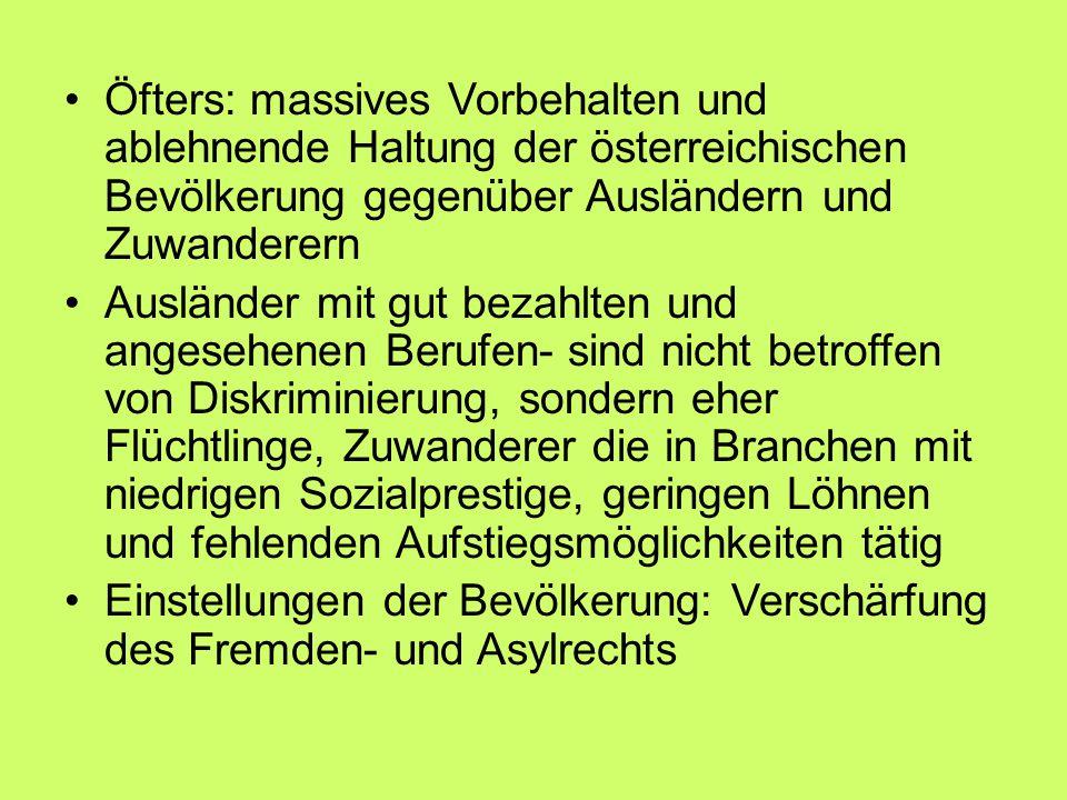 Öfters: massives Vorbehalten und ablehnende Haltung der österreichischen Bevölkerung gegenüber Ausländern und Zuwanderern Ausländer mit gut bezahlten