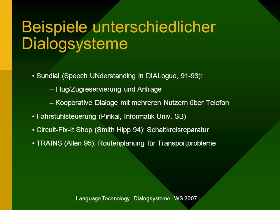 "Language Technology - Dialogsysteme - WS 2007 Komponenten eines Sprachdialogsystems Spracherkennung Sprachverstehen Dialogsteuerung Antwortgenerierung Sprachsynthese Mc Tear, Michael F.: ""Spoken Dialogue Technology: Enabling the Conversational User Interface , ACM Computing Surveys 34(1), 2002."