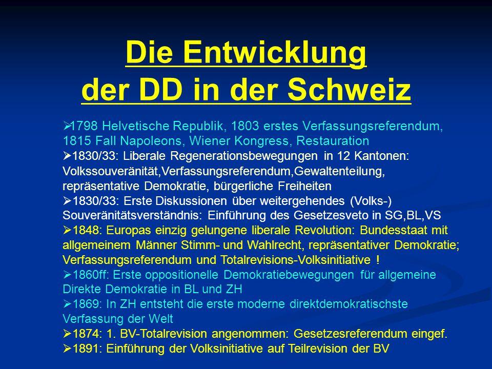 Die Entwicklung der DD in der Schweiz  1798 Helvetische Republik, 1803 erstes Verfassungsreferendum, 1815 Fall Napoleons, Wiener Kongress, Restaurati