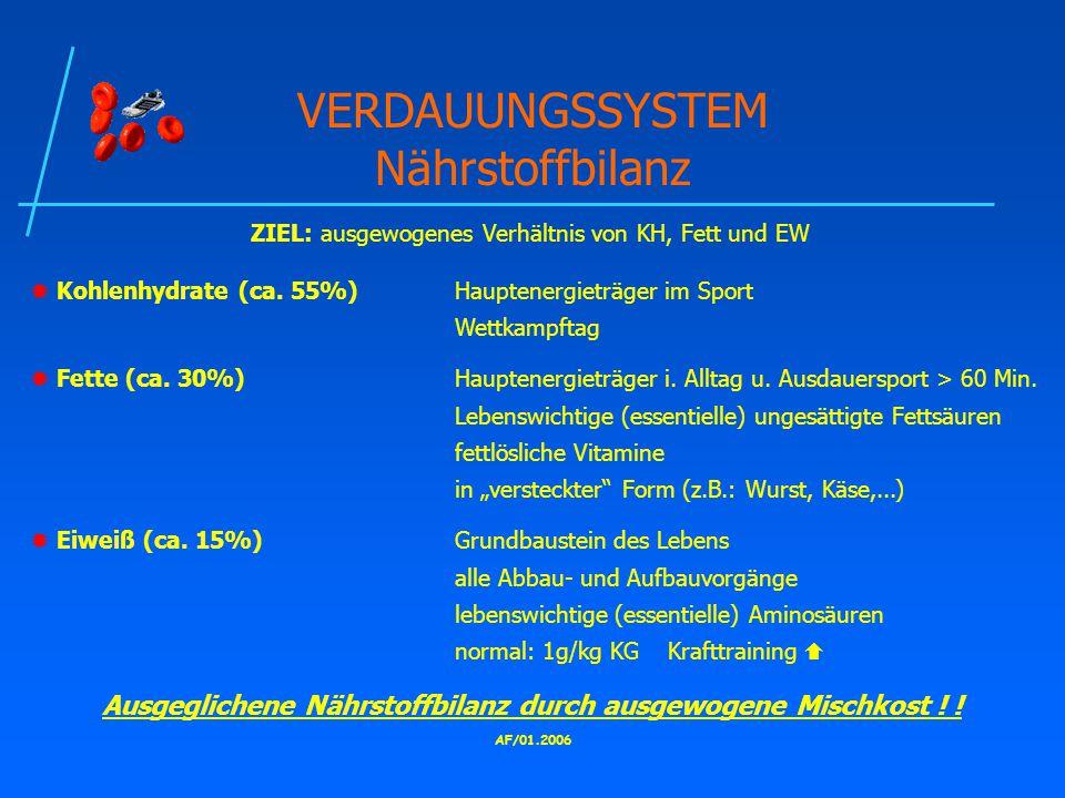 AF/01.2006 VERDAUUNGSSYSTEM Nährstoffbilanz ZIEL: ausgewogenes Verhältnis von KH, Fett und EW  Kohlenhydrate (ca.