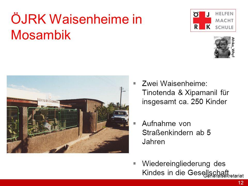 12 Generalsekretariat ÖJRK Waisenheime in Mosambik  Zwei Waisenheime: Tinotenda & Xipamanil für insgesamt ca. 250 Kinder  Aufnahme von Straßenkinder