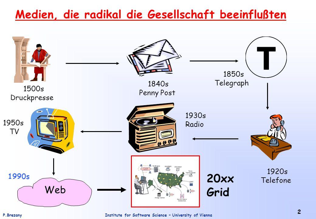 Institute for Software Science – University of ViennaP.Brezany 2 Medien, die radikal die Gesellschaft beeinflußten Web 1500s Druckpresse 1840s Penny P