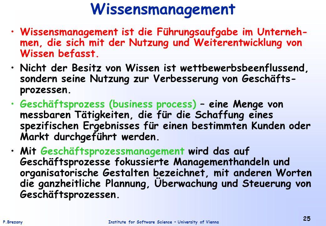 Institute for Software Science – University of ViennaP.Brezany 25 Wissensmanagement Wissensmanagement ist die Führungsaufgabe im Unterneh- men, die si