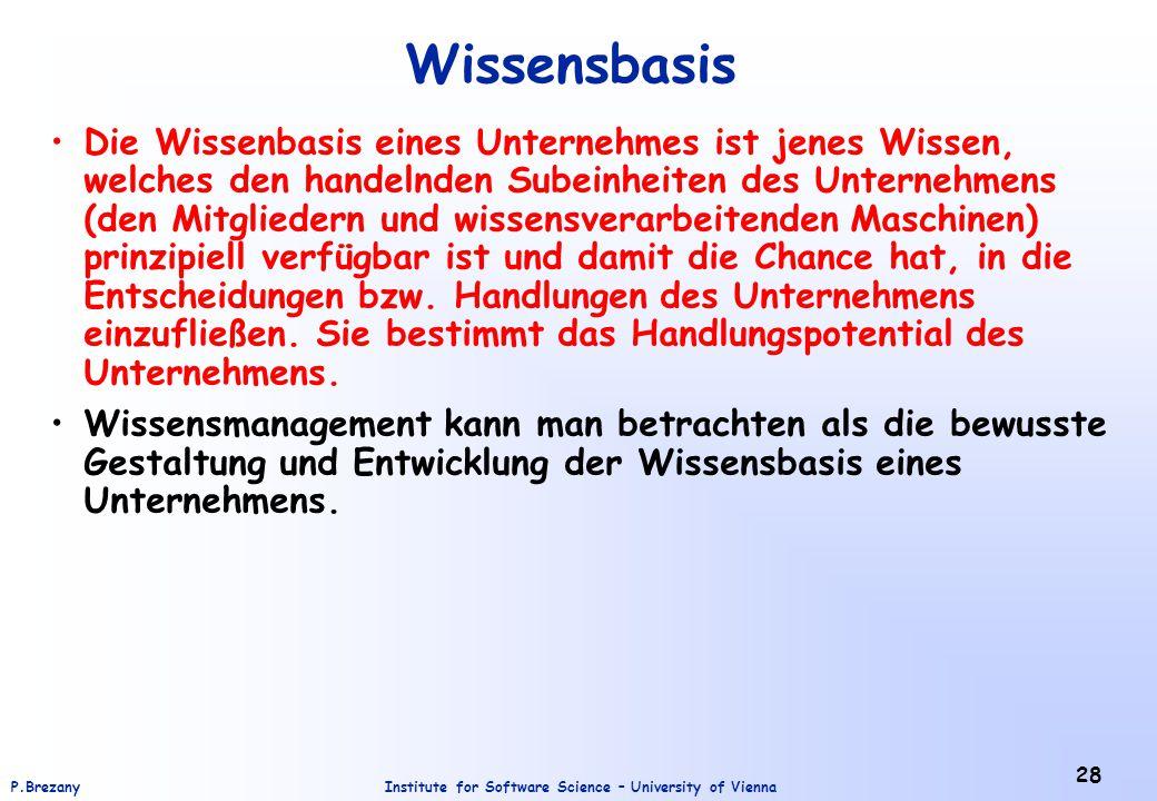 Institute for Software Science – University of ViennaP.Brezany 28 Wissensbasis Die Wissenbasis eines Unternehmes ist jenes Wissen, welches den handeln