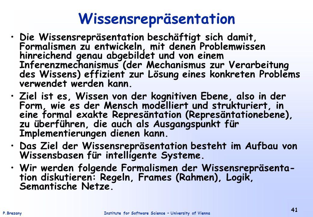 Institute for Software Science – University of ViennaP.Brezany 41 Wissensrepräsentation Die Wissensrepräsentation beschäftigt sich damit, Formalismen