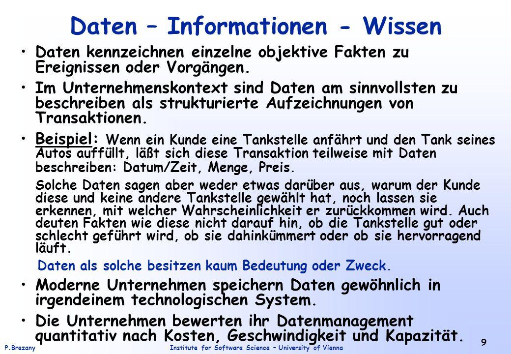 """Institute for Software Science – University of ViennaP.Brezany 20 Wissenspyramide - Beispiel Zeichen: l g e i c h e r g n e t s e Daten:Obige Zeichen ergeben mit der richtigen Syntax (hier die Reihenfolge der Buchstaben) eine Aus- sage: """"Gleich regnet es. Information: """"Gleich regnet es wiederum bedeutet: """"Regentropfen fallen vom Himmel. Wissen: Die Information """"Regentropfen fallen vom Himmel ist verknüpft mit Erfahrungen und Erwartungen wie: Man kann nass werden; es kann in die Woh- nung regnen."""