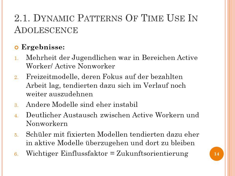 2.1. D YNAMIC P ATTERNS O F T IME U SE I N A DOLESCENCE Ergebnisse: 1. Mehrheit der Jugendlichen war in Bereichen Active Worker/ Active Nonworker 2. F