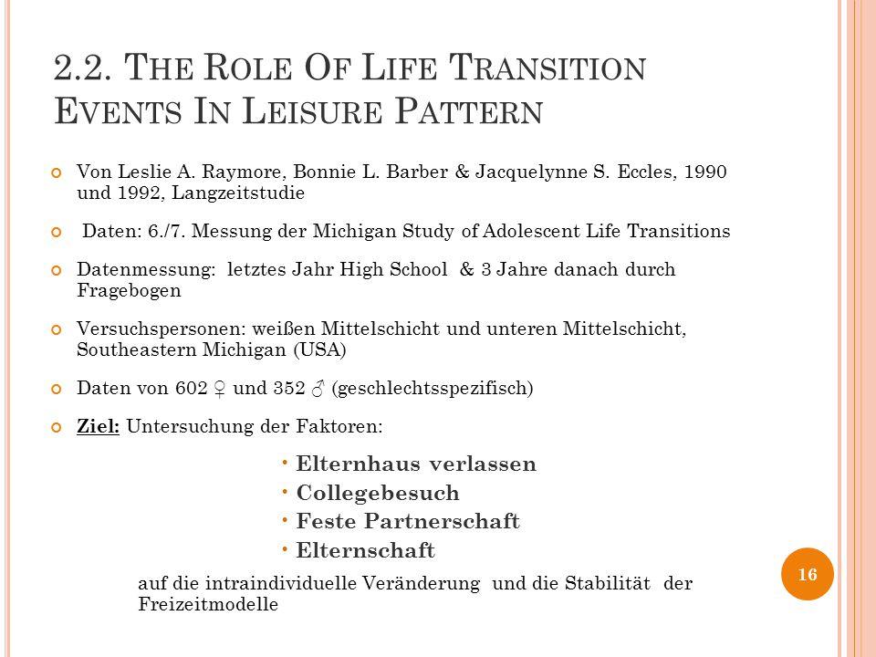 2.2. T HE R OLE O F L IFE T RANSITION E VENTS I N L EISURE P ATTERN Von Leslie A. Raymore, Bonnie L. Barber & Jacquelynne S. Eccles, 1990 und 1992, La
