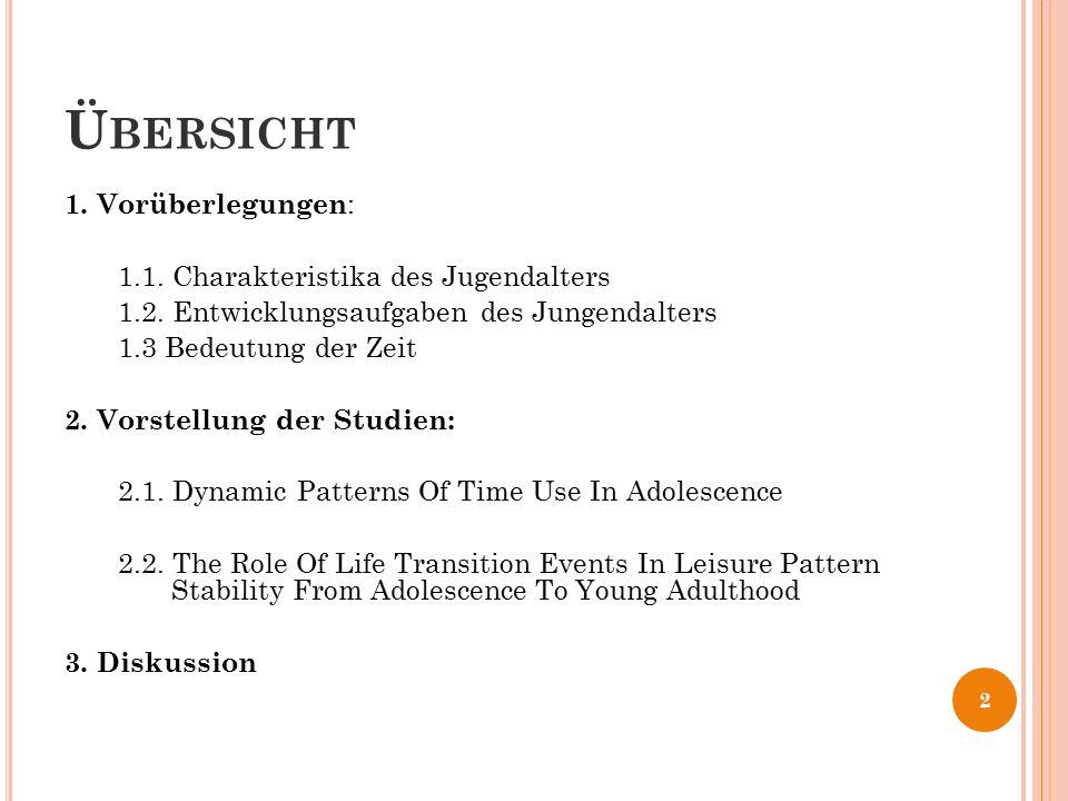 Ü BERSICHT 1. Vorüberlegungen : 1.1. Charakteristika des Jugendalters 1.2. Entwicklungsaufgaben des Jungendalters 1.3 Bedeutung der Zeit 2. Vorstellun