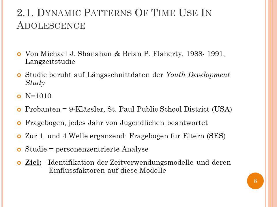 2.1. D YNAMIC P ATTERNS O F T IME U SE I N A DOLESCENCE Von Michael J. Shanahan & Brian P. Flaherty, 1988- 1991, Langzeitstudie Studie beruht auf Läng