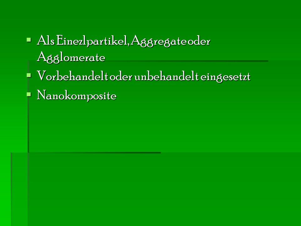  Als Einezlpartikel, Aggregate oder Agglomerate  Vorbehandelt oder unbehandelt eingesetzt  Nanokomposite