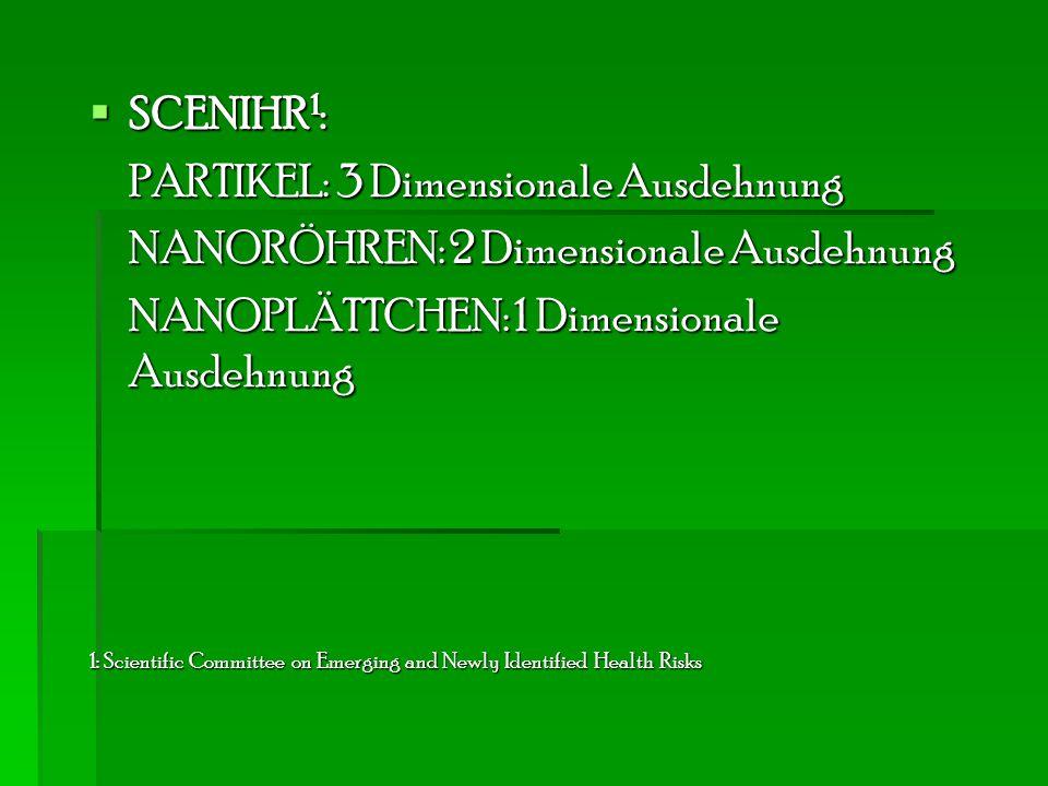  SCENIHR 1 : PARTIKEL: 3 Dimensionale Ausdehnung NANORÖHREN: 2 Dimensionale Ausdehnung NANOPLÄTTCHEN: 1 Dimensionale Ausdehnung 1: Scientific Committ