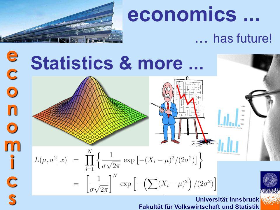 Universität Innsbruck Fakultät für Volkswirtschaft und Statistik economics Statistics & more... economics...... has future!