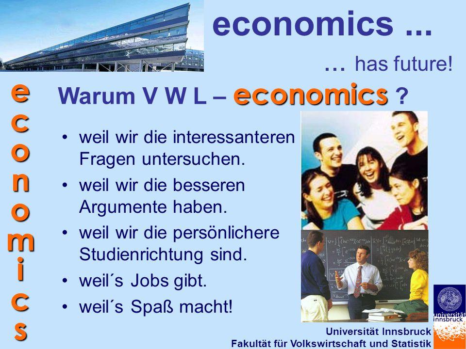 Universität Innsbruck Fakultät für Volkswirtschaft und Statistik economics economics...... has future! economics Warum V W L – economics ? weil wir di