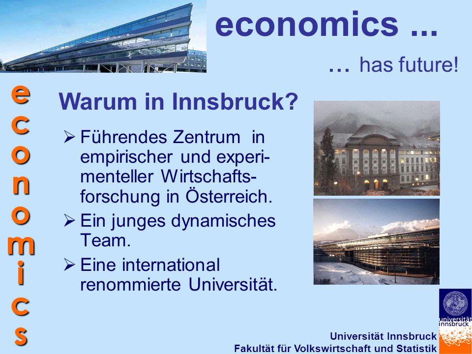 Universität Innsbruck Fakultät für Volkswirtschaft und Statistik economics economics...... has future! Warum in Innsbruck?  Führendes Zentrum in empi